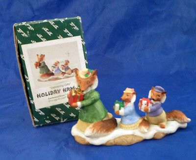 Fitz & Floyd HOLIDAY HAMLET Christmas DELIVERING GIFTS~FOX FAMILY~Mint in Box