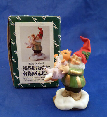 Fitz & Floyd HOLIDAY HAMLET Christmas ELF AND BABY SQUIRRELL~MINT IN BOX