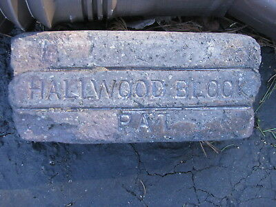 OLD VTG antique Brick reclaimed Stamped HallWood block Pa