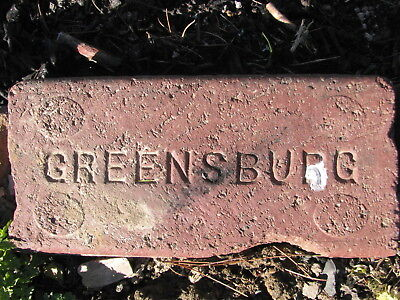 OLD VTG antique Brick reclaimed Stamped GREENSBURG
