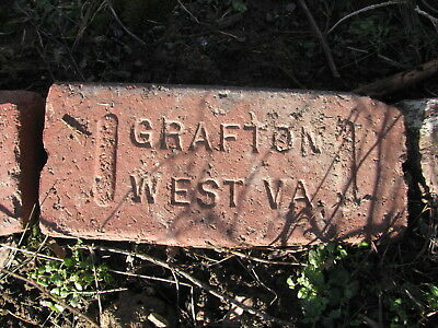 OLD VTG antique Brick reclaimed Stamped GRAFTON WEST VA