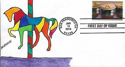 FDC Year of the Horse San Francisco CA 2014 Hand Painted Cachet by Barnnie