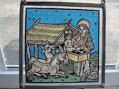 Architectural salvage enameled stained glass Jesus Mary creche antique church