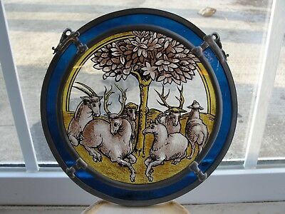 Architectural salvage enameled stained glass window sheep deer antique