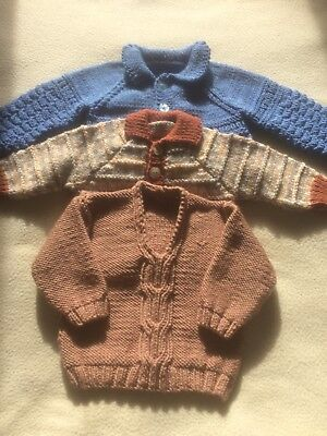 3 Hand Knitted Baby Boy Coat Jumper & Cardigan
