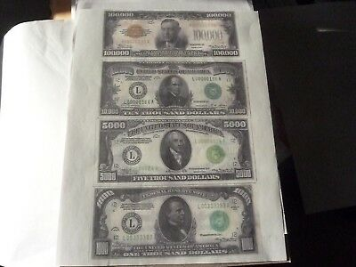 4  One Sided   Banknotes    $1,000, $5,000, $10,000, $100,000,