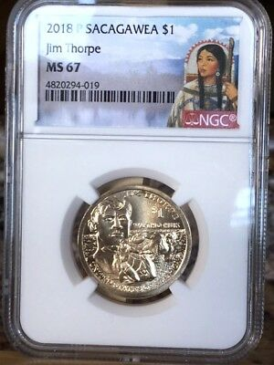 2018-P Sacagawea Jim Thorpe $1 NGC MS 67 * Gorgeous - Native American! *
