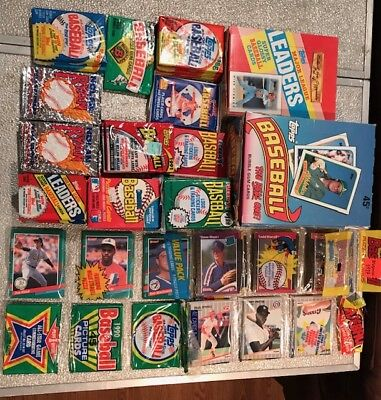 1986 through 1991 Baseball Cards Unopened Packs - 1,977 cards/stickers/
