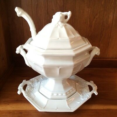 Red Cliff Ironstone Soup Tureen with Lid~Under Platter~Ladle~Grape Pattern