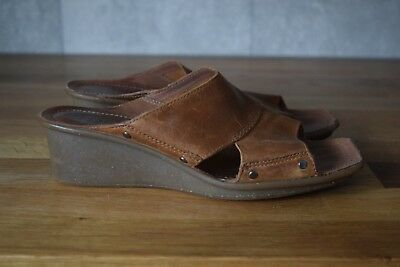 a155269ef5c4 Clarks Active Air Ladies Tan Leather Wedge Sandals Flip Flops Size Uk 4.5  Excell