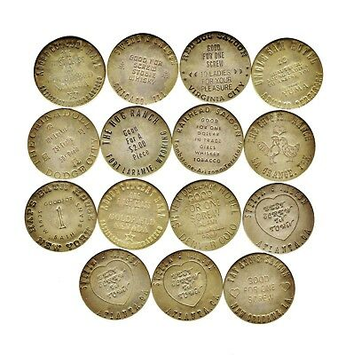 Vintage Brass Brothel whorehouse Tokens Lot of 15