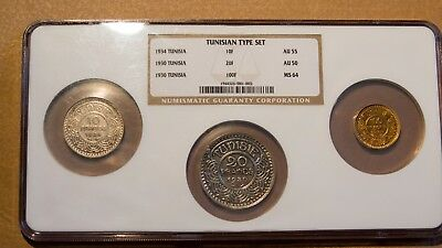 Tunisia Gold 100 franc, Silver 10 and 20 Franc NGC graded -- all low mintage