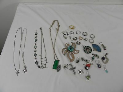 158.8 Gram Lot of Scrap or Wearable Sterling Silver with Stones