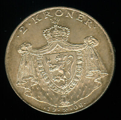 1906 Norway Independence Silver 2 Kroner Uncirculated