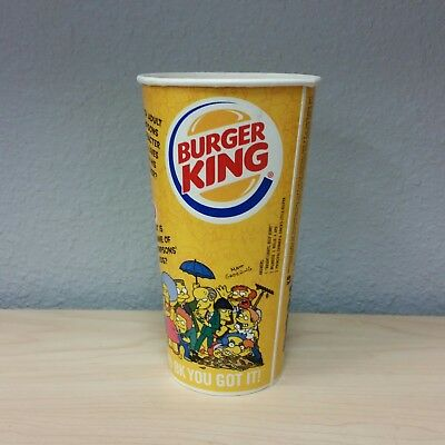 Burger King The Simpsons Big Kids Meal 22 oz Paper Cup 2002 - New