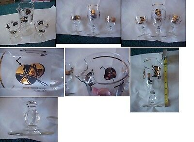 Vintage Cocktail Shaker Mixer 2 Glasses Fire Man Top Hat Gold Black Retro