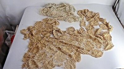 """Large Lot Of Antique Crochet  One Uneven Panel & 5 Yards x 1 1/2""""  Edging"""