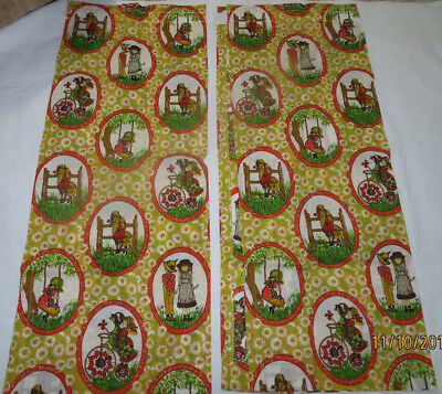 """NOS NEW Old Stock Vintage Holly Hobbie Curtain Set Pair 60"""" x 37 1/2"""""""