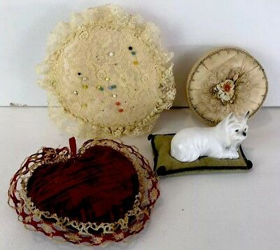 Antique Pin Cushions & Powder Puff Sewing Collectibles