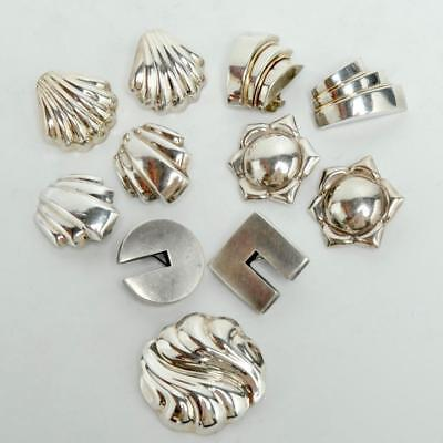 Group Of 5 Vintage 925 Silver Earrings And Pendant, Modernist Chic