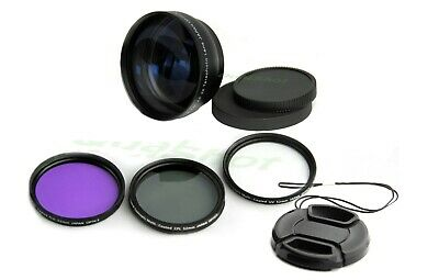 52mm .45 Wide angle +2X tele lens + filter Kit +Hood for Nikon D7000 D5100 D3100