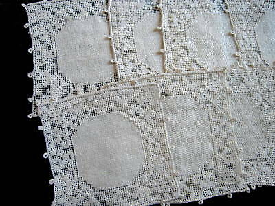 8 Victorian Antique Italian Linen Filet Lace Doilies Coasters Cocktail Napkins
