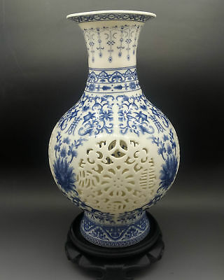 Chinese Jingdezhen White & Blue Porcelain Hand Painted & Hollow Carved Vase