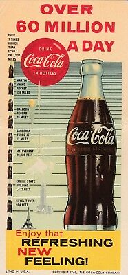 """DRINK COCA-COLA """"over 60 million a day """" 1960 COCA-COLA  illustrated INK blotter"""