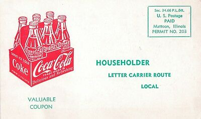 """COCA-COLA  """" household  10 cent mail coupon """"  1950s  POSTCARD"""