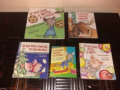 Mixed Lot Of 5...if You Give A Moose A Cookie Books...children Books