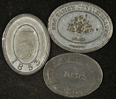 1836, 1853, & No Date Communion Tokens/medals Oval Shaped Lot Of 3