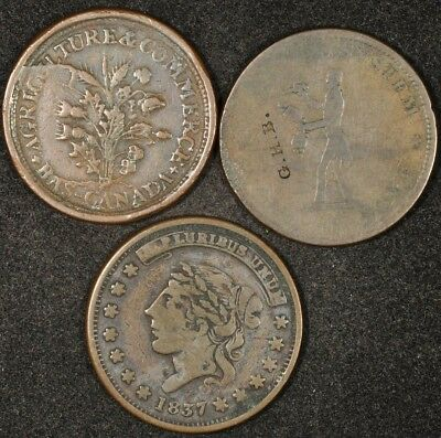 1834-1837 Lot Of (3) Hard Times Tokens