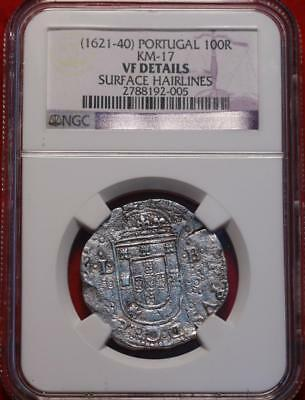 (1621-40) Portugal 100 Reis NGC Graded VF Details Surface Hairlines Silver Coin