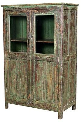 """48"""" Tall Felicity Painted Cabinet Antique Hardwood Glass Panel Double Doors"""
