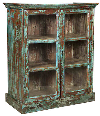 """40"""" Tall Simona Cabinet Glass Panel Doors Distressed Reclaimed Wood Antique"""
