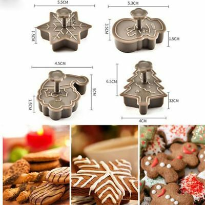 4X DIY Christmas Santa Plastic Baking Mold Kitchen Biscuit Cookie Cutter Tools