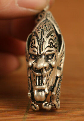 chinese old fine 925 silver hand carved Hell Pendant accessories netsuke gift