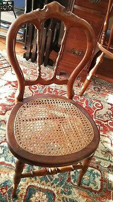 Antique Walnut Carved Older Child's Chair with Caned Seat Turned Legs Victorian