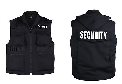 MENS Army Style SECURITY Vest Uniform -Black -Size XL