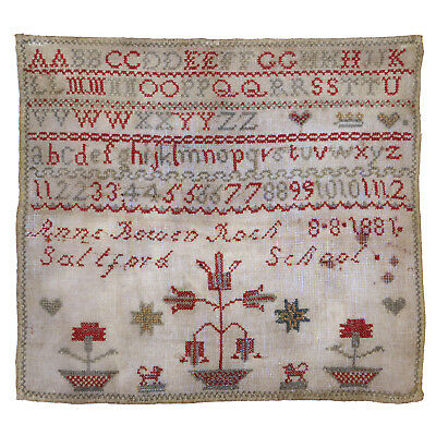 Antique 19th c. ENGLISH Embroidery Sampler / Signed / Saltford School Somerset
