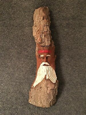 """Hand Carved """"Santa Claus"""" Wood Wall Hanging signed HILL BILLY on back"""