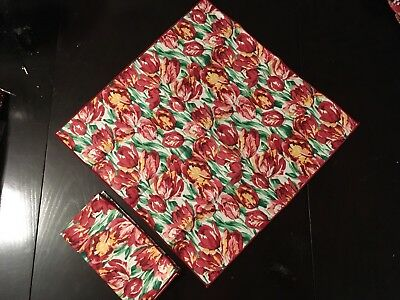 "Longaberger Napkins - Set of 2 Tulip 16"" Fabric Squares NEW Red Floral"