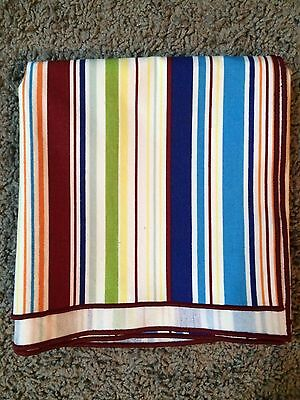 """Longaberger SUNNY DAY STRIPE SUMMER 36"""" FABRIC SQUARE ~ 36 inch NEW TABLE"""