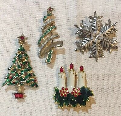 Lot of 4 Vintage Christmas Tree Winter Holiday Pins Brooches