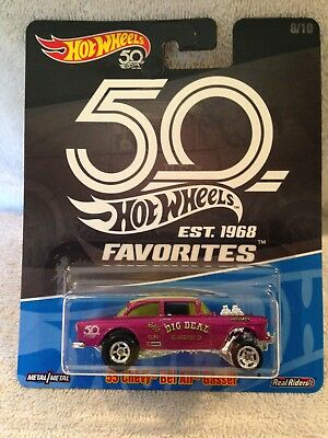 Hot Wheels 2018 50th Anniversary Favorites B Case '55 Chevy Bel Air Gasser Mint!