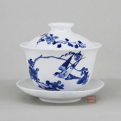 Hand painted bird & flower Chinese Blue and white porcelain gaiwan tea cup 160cc