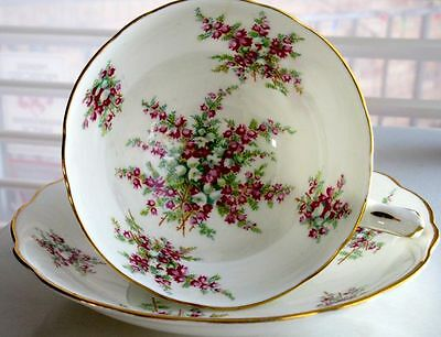 Hammersley & Co Fancy Pedestal Heather Flowers Vintage Bone China Cup & Saucer