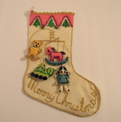 Really Nice Old Christmas Greetings Stocking Little Girl & Toys Vintage Antique