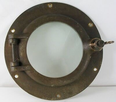 "Antique Porthole bronze, Salvaged  9"" porthole, 6"" ID Flange Nautical Maritime"