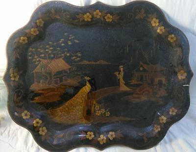 Old Antique Chinoiserie Black Tole Painted Asian Oriental Large Serving Tray